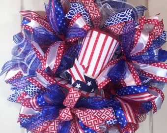 Patriotic wreath, front door wreath, red white and blue wreath, Uncle Sam wreath, patriotic holiday wreath