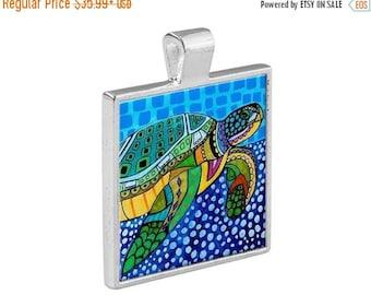 SALE ENDING- Sea Turtle  Necklace Animal Folk Art Jewelry - Pendant Metal  Gift Art Heather Galler Gift Vegan Gifts