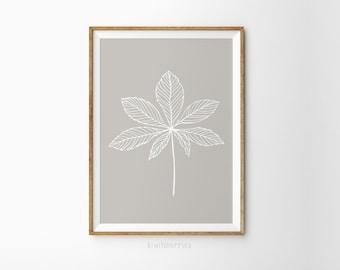 Beige leaf print - Contemporary home decor - Beige art print - Printable leaf - Printable wall art - Beige and white art - Leaf doodle