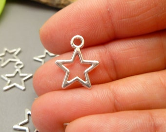 Silver Charms - 20 Star Charms Jewelry Making Scrapbooking Embellishments -  MC982