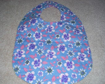 blue with pink and purple flowers -  Adult Size Bib / Clothing Protector - Reversible