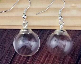 Kit earrings 16 mm glass bubble filled