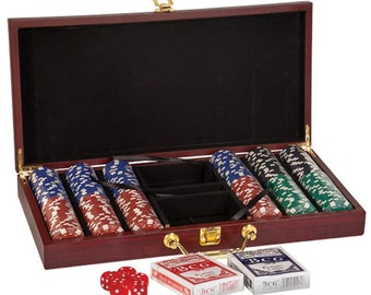 Personalized Poker Set in a Rosewood Finish Case. Groomsmen, Christmas, Tournaments, Promotions, Birthday, Vegas Nights, Charity, Business