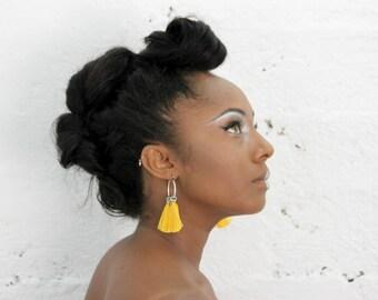 Silver hoop earrings, yellow tassel earrings, yellow statement earrings, boho chic earrings, yellow turquoise earrings, tribal earrings