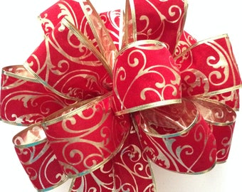 Christmas Tree Topper / Xmas Decorative Bow / Red and Gold Tree Topper / Swirl Detail in Gold and Red Velvet Bow / Red and Gold Handmade