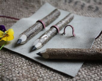 Pencil Wrap / roll / case in leather with 3 handmade twig pencils