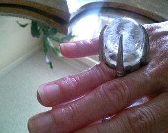 Natural Quartz Crystal Ball Ring