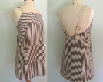Japanese Apron in Blue Ticking Stripe Cotton Duck Canvas with Large Pockets, Adjustable Straps and Overlapping in the Back