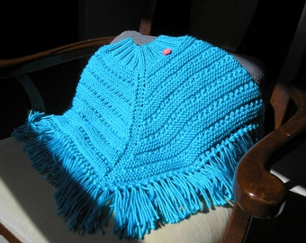 Knitted Poncho, Girls Medium - Mint Blue