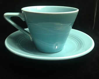 "Vintage Homer Laughlin ""Harlequin"" Turquoise Cup and Saucer Set"