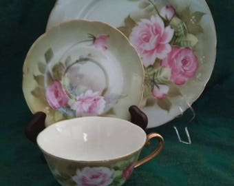 Vintage Lefton Green Heritage Rose for Four for Dinner #517