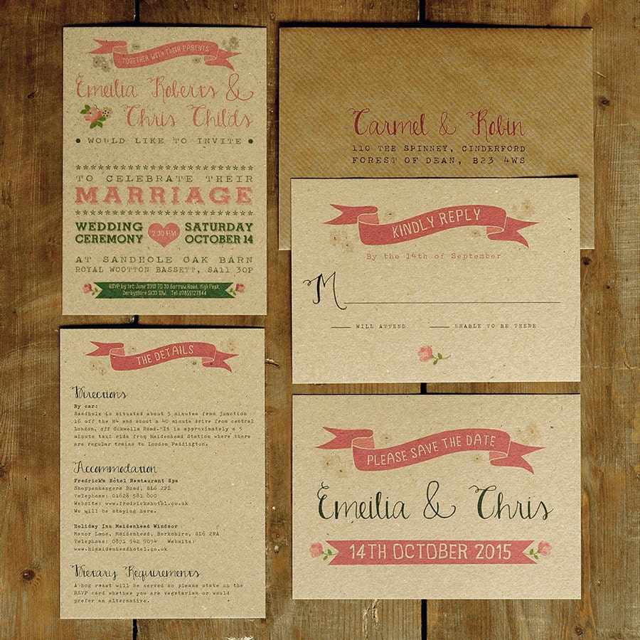 Recycled Wedding Invitations: Vintage Country Wedding Invitation Set On Recycled Kraft Card