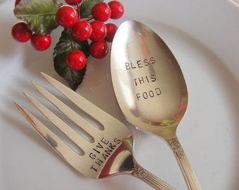 Serving Set Hand Stamped Fork and Spoon