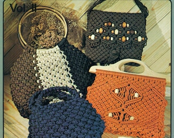 PURSE STRINGS Macrame Handbags Project Book Purse Patterns Liz Miller Rose Brinkley 1970s