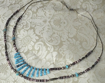 Vintage Turquoise and Stone Beaded Necklace Creationarts