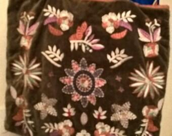 Tote bag vintage made in France in olive colored Velvet