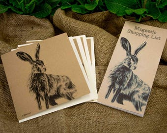 March Hare Magnetic Shopping Pad & Four Pack Greetings Cards