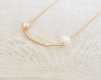 pearl necklace,14k gold filled necklace,cute necklace,friendship necklace