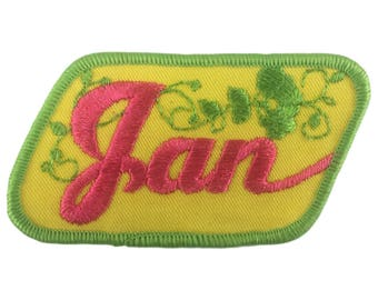 Vintage Name Patch - Jan - NEW OLD STOCK Bright Neon Groovy Retro