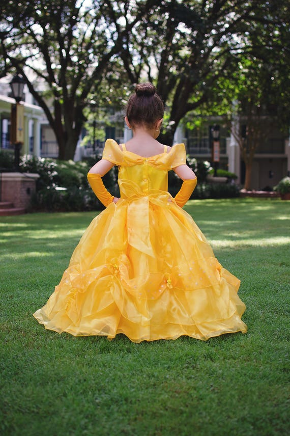 Belle Dress Disney Princess Beauty And The Beast Inspired Costume Yellow Ball Gown Style For Toddler Child Girl