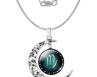 Virgo 925 Silver Crescent Moon Necklace