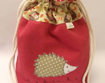 Hedgehog drawstring bag, Hedgie sock project bag, sock project drawstring pouch, free motion embroidery, medium knitting project bag