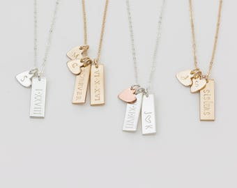 Personalized Small Tag Necklace / Simple Initial Heart Necklace, Multiple Tag Necklace Gold Fill, Sterling Silver, Rose Gold LN155_16_V.ht