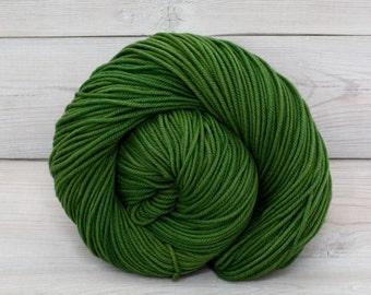 Calypso - Hand Dyed Superwash Merino Wool DK Light Worsted Yarn - Colorway: Moss