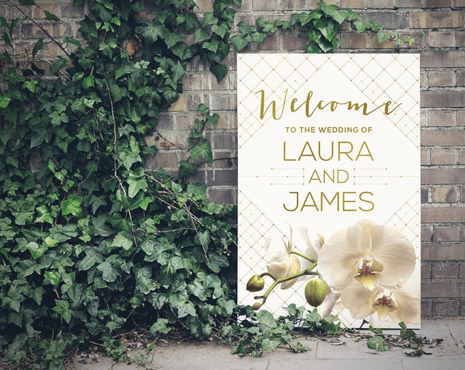PRINTABLE - Wedding Sign, Printable Welcome Sign, Gold, Orchids, Modern, Geometric, Mustard Yellow - Free changes
