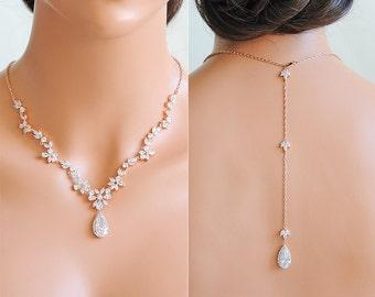 Rose Gold Bridal Necklace, Backdrop Necklace, Back Drop Wedding Necklace, Crystal Flower Leaf Vine Back Necklace, Bridal Jewelry, CAMRYN