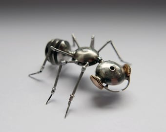 Watch Parts Insect Sculpture Ant No 2 Recycled Clockwork Insect Figurine Stems Metal Arthropod A Mechanical Mind Gershenson