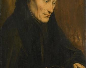 Quinten Massijs : Portrait of Desiderius Erasmus (1535) Canvas Gallery Wrapped Wall Art Print