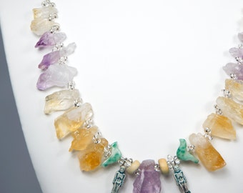 Necklace with Amethyst, Citrine, Jade Birds, Skeletons, Jasper + Glass by La Miré New York