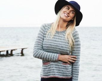 Striped raglan pullover sweater PDF knitting pattern / women's wool sweater knit pattern / Ladies knit jumper pattern / knit sweater pattern