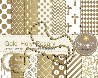 50% OFF Gold Rosary Baptism Digital Papers and Clipart, First Communion, Confirmation, Christening, Dedication, Holy Week Scrapbooking, Glit