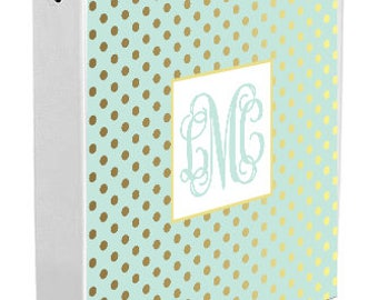 Personalized Binder Cover, Mint & Gold Dots
