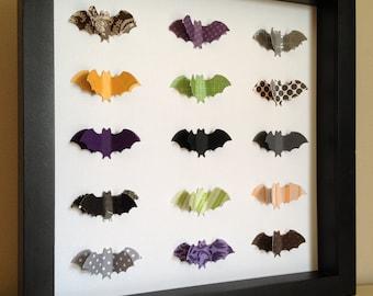 Halloween Bats, 3d Paper Art, Halloween decoration, paper art, shadowbox frame, Halloween theme, Bat, by PaperLine