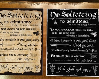 Lord Of The Rings No Soliciting Sign  - 2 Options Available
