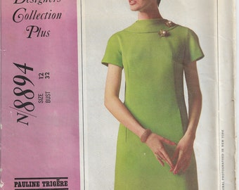 McCall's #8894 New York Designer's Collection Misses Size 12 Bust 32 Five Section Dress Short Sleeves Back Zipper Pauline Trigère USED 1967