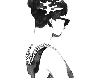 HOLLY: Print of Hand Painted Fashion Illustration, Dress Painting, Fashion Wall Art, Girls Room Decor, Office Decor. Frame Not Included.
