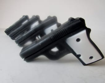 4 GUN SOAP - gift for him, black and white mini pistol, gift for boyfriend, stocking stuffer for man