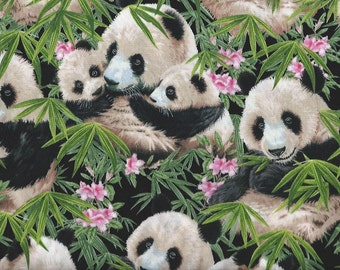 Panda Bear,Palms and Pink Flowers ,Elizabeth Studio