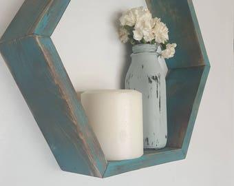 Geometric shelf, Turquoise Hexagon, shadow box hexagon, wood Shelf, bookshelf, wall decor