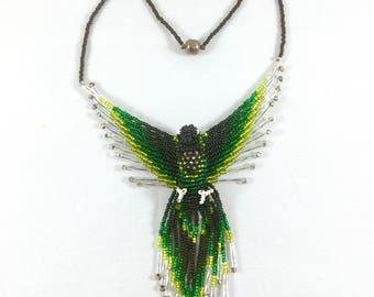 Phoenix Bird Pendant Necklace - Green - Beaded Phoenix - 3D Bead Firebird - Beaded Bird Necklace - Thunderbird Jewelry - Phoenix Jewelry