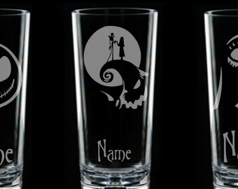 Nightmare Before Christmas JACK Skellington & SALLY  Personalised Glass etched engraved gift handcrafted