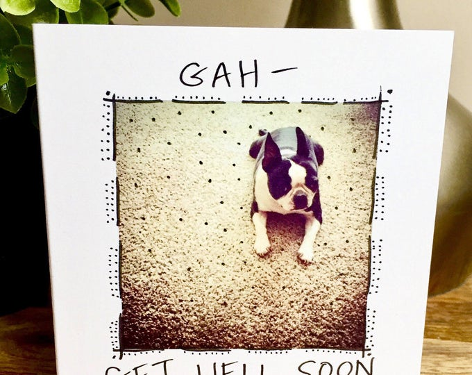 Get Better Soon Card, Get Well Card, funny dog card, funny get well card, boston terrier card, feel better soon, Get Well Soon Card