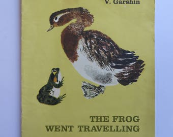 "Soviet vintage children's book ""The frog went travelling"" by Garshin. Kid's book about animals. USSR book in English. Russian vintage 1980s"
