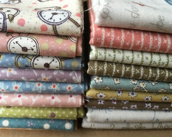 All in a Day FQ Bundle from Henry Glass Fabrics - 18 Fat Quarters Small Scale Flowers, clocks, dots, stripes - Daily Chores Fabric