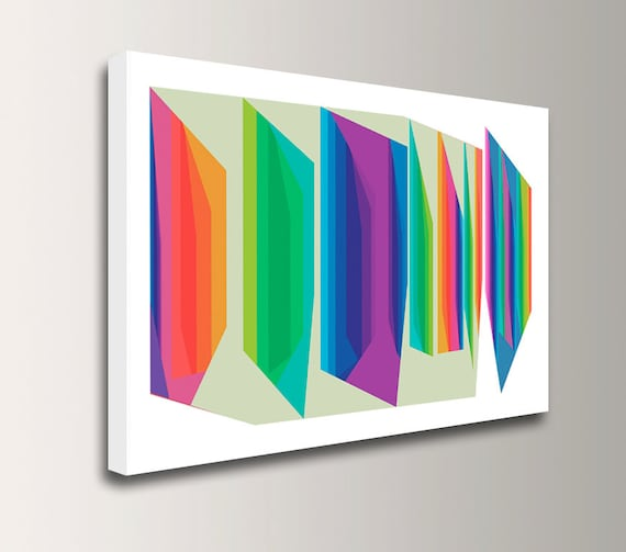 "Mid Century Modern - Colorful Canvas Print  - Bright Rainbow Colors - Abstract Wall Decor - "" Fractions """