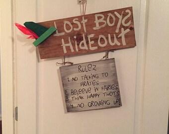 Lost Boys Hideout Door Sign Peter Pan